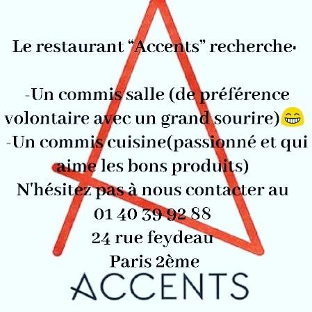 #cherchetravail #cuisine #servers #accentstablebourse #gastronomique #paris