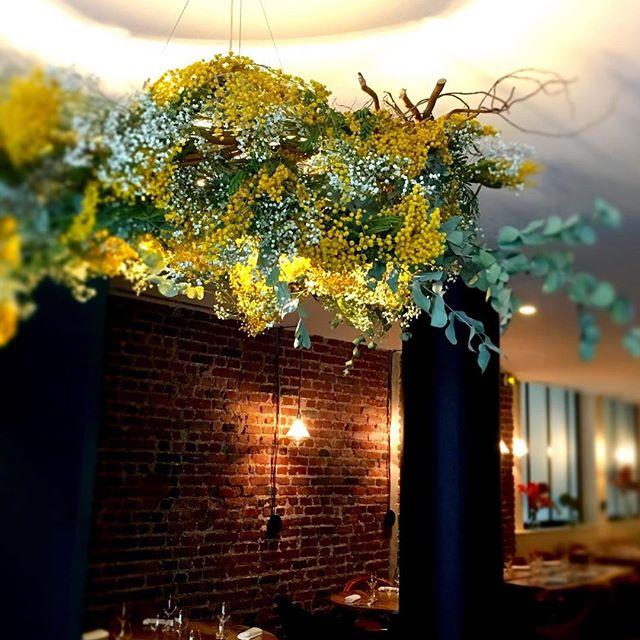 #accentstablebourse #entrée #decoration #mimosa #flowers #lustre #printemps