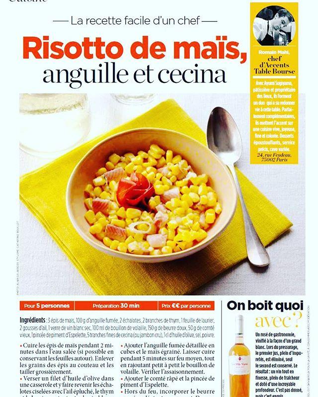 Découvrez la recette du Chef d'ACCENTS table bourse, Romain Mahi, publiée dans Voici daté du 24 août !A retrouver sur la page Facebook d'@accents.table.bourse----Discover the recipe of the CHef of ACCENTS Table bourse , Romain Mahi, published in @voici_mag VOICI dated August 24th !To find on the FB page of @accents.table.bourse#accentstablebourse #romainmahi #ayumisugiyama #gourmet #voici #gastronomy #restaurant #foodie #risotto #mais #recette #partage #recipe #easy #food #foodlover #cuisine @romainmahi @air_de_malice