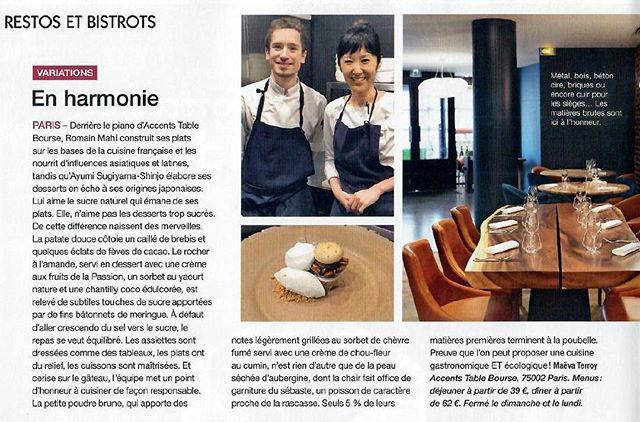 Merci @saveurs_magazine - Maeva Terroy pour ce très bel article !----Thank you Saveurs magazine - Maeva Terroy for this great article !@sugiyama3223 @romainmahi @billardetienne  #gastronomia #accentstablebourse #foodlover #dessert #paris #sortiraparis #restaurant #foodie #winelover #ecoresponsable #gastronomy