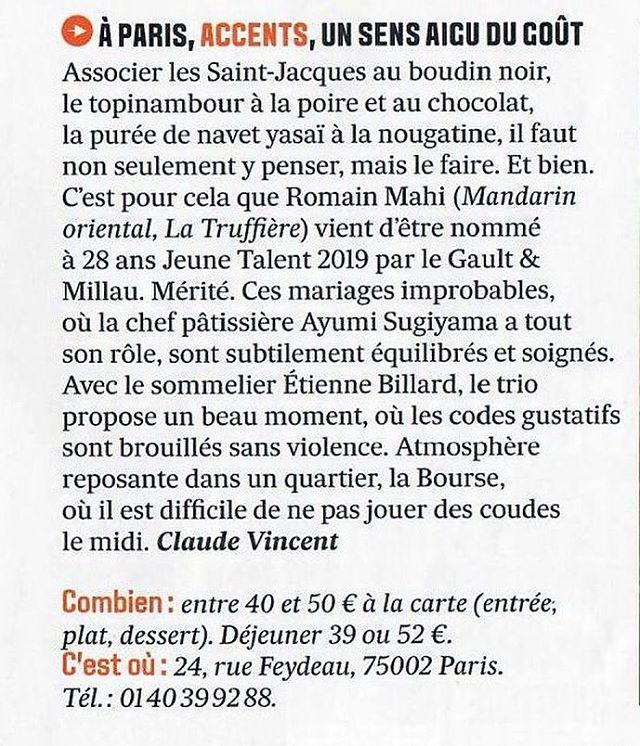 """""""ACCENTS, UN SENS AIGU DU GOÛT""""La rédaction des """"Echos"""" a testé Merci pour ce bel article Les Echos Week-end - Claude Vincent ----""""ACCENTS, AN ACUTE SENSE OF TASTE""""The writing of """"Echoes"""" has testedThank you for this beautiful article Les Echos Weekend - Claude Vincent@lesechos @lesechosweekend #accentstablebourse #gastronomy #restaurant #paris #unsensaigudugout #gourmet #foodlover #winelover #foodie @airdemalice"""